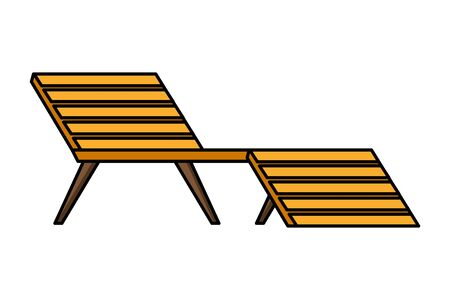wooden deck chair on white background vector illustration