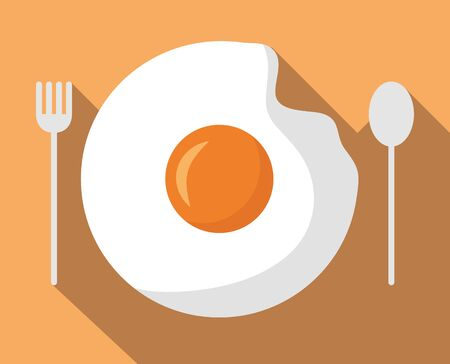 breakfast cooking fried eggs cutlery vector illustration