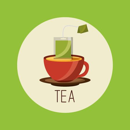 Tea cup design, Drink breakfast beverage tradition kitchen and aromatic theme Vector illustration Banco de Imagens - 129507576
