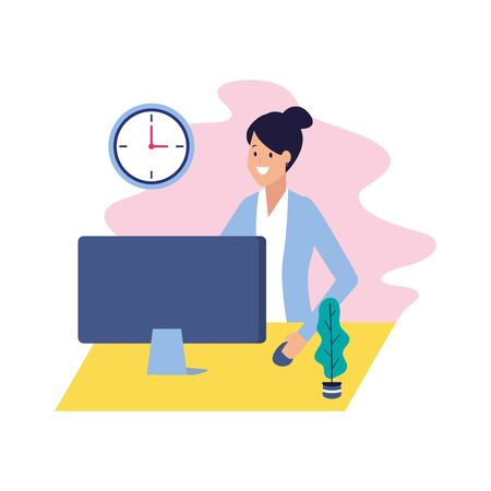 business woman working with computer business vector illustration