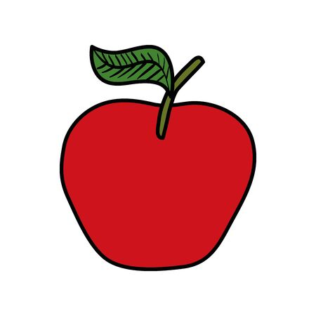 fresh apple fruit nature icon vector illustration design