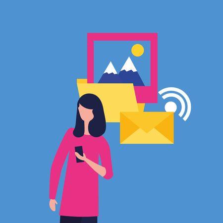 Ensemble d'icônes de médias sociaux et multimédia, thème de communication d'applications et de marketing numérique Design coloré Illustration vectorielle