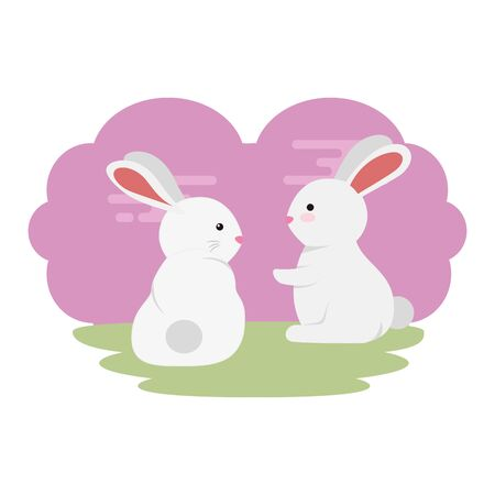 cute and little rabbits couple in grass characters vector illustration design Çizim