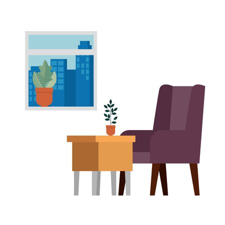confortable sofa and wooden table livingroom scene vector illustration design