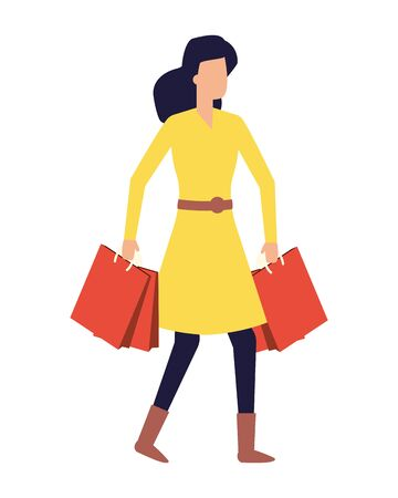 woman holding shopping bags white background vector illustration