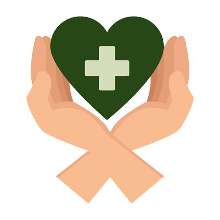 hands protecting medical heart with cross vector illustration design Illustration