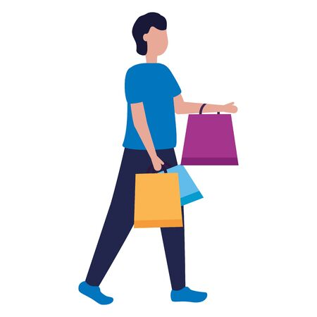 man character shopping bags market vector illustration