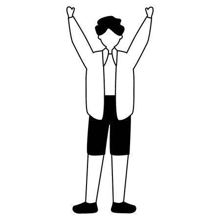 young man character avatar white background vector illustration white and black