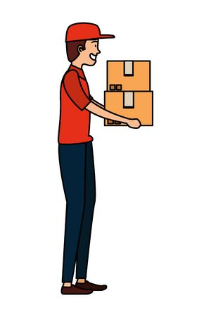 worker of delivery service lifting carton box vector illustration design Ilustracja