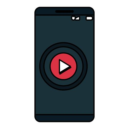 smartphone technology with play button vector illustration design