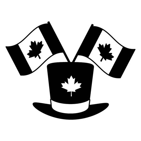 top hat flags happy canada day vector illustration