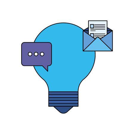 bulb light idea with envelope and speech bubble vector illustration design  イラスト・ベクター素材