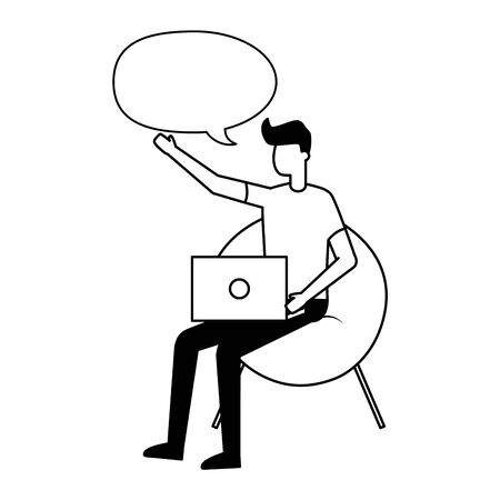 man sitting on chair with laptop talking bubble vector illustration
