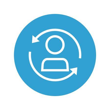 user avatar with arrow around vector illustration design