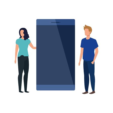 young couple with smartphone characters vector illustration design Çizim