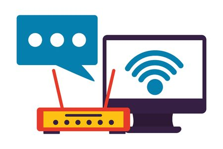 computer router wifi internet connection vector illustration