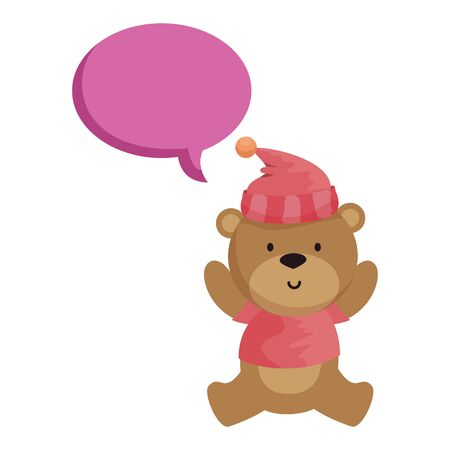 little bear teddy with hat and speech bubble vector illustration design Stock Vector - 129665524