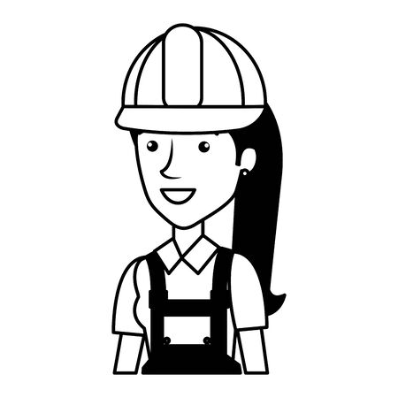 female builder constructor with helmet character vector illustration design