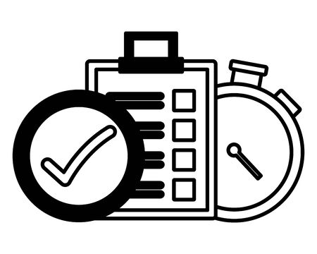 stopwatch clipboard check mark fast delivery logistic vector illustration Standard-Bild - 129507738
