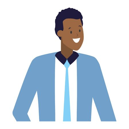 businessman character portrait on white background vector illustration Çizim