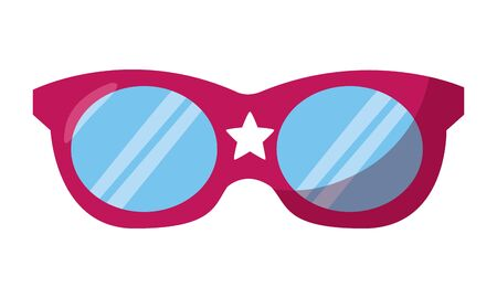 red sunglasses with star on white background vector illustration Illustration