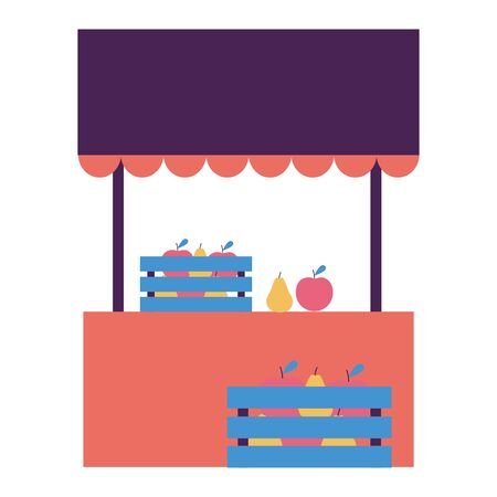 street commerce booth fruits food vector illustration