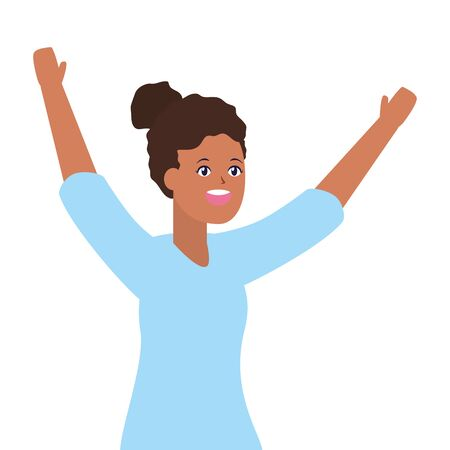celebrating woman with arms up vector illustration Stok Fotoğraf - 129507947