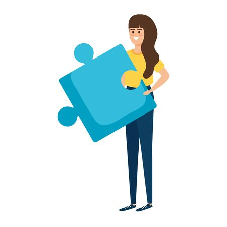 young woman lifting puzzle game piece vector illustration design Stock fotó - 129507961