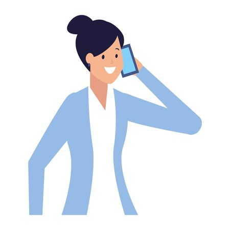 business woman using calling smartphone vector illustration