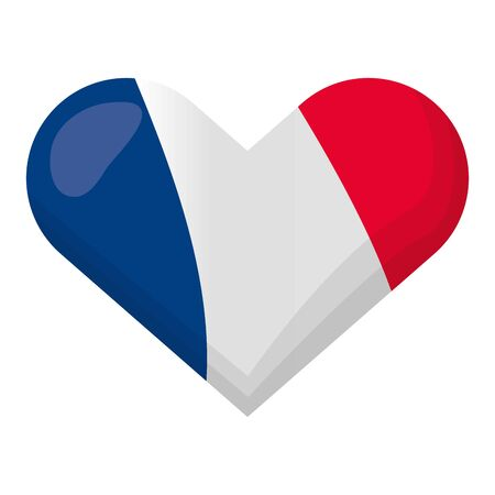 heart shaped french flag happy bastille day flat design vector illustration 向量圖像