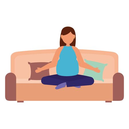 woman pregnancy practicing yoga relaxing maternity scene vector illustration Archivio Fotografico - 129508349