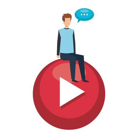young man seated in play button with speech bubble vector illustration design