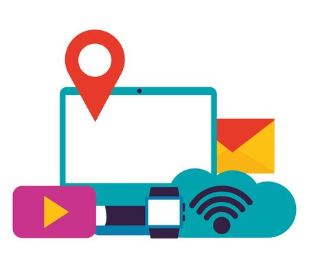 computer email cloud watch wifi internet connection vector illustration