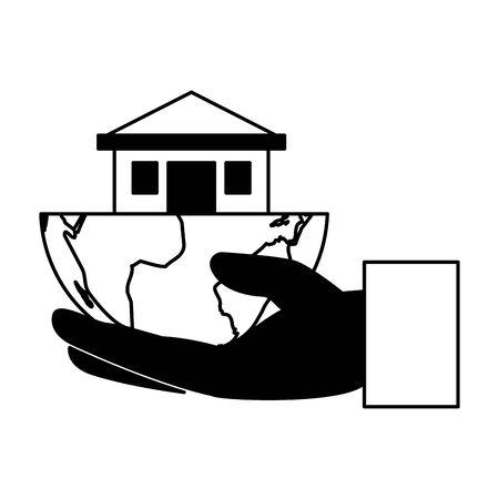 hand holding house eco friendly environment vector illustration Archivio Fotografico - 129508382