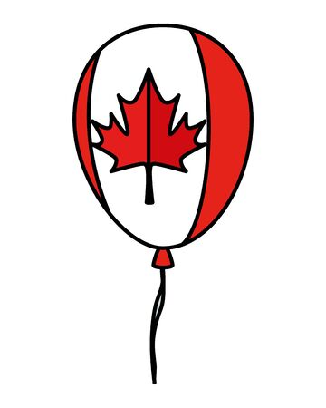 balloon helium with canadian flag vector illustration design