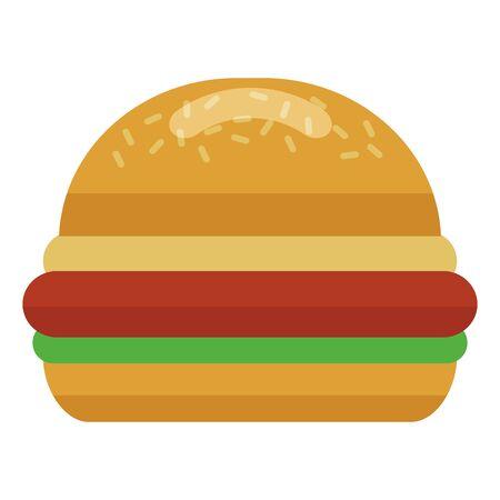tasty burger on white background vector illustration Ilustração
