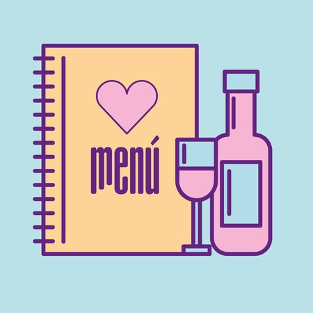 Wine cup and bottle design, Food restaurant menu dinner lunch cooking meal and tasty theme Vector illustration Stock Illustratie