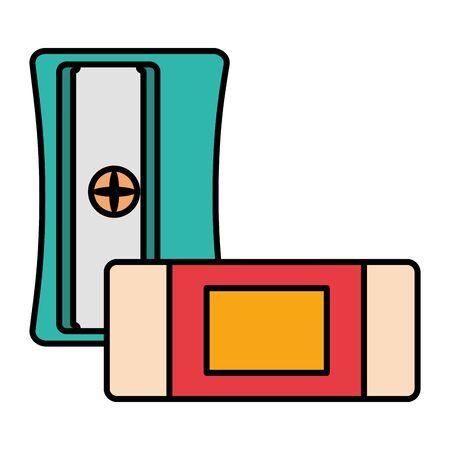sharpener and eraser school on white background vector illustration Illustration