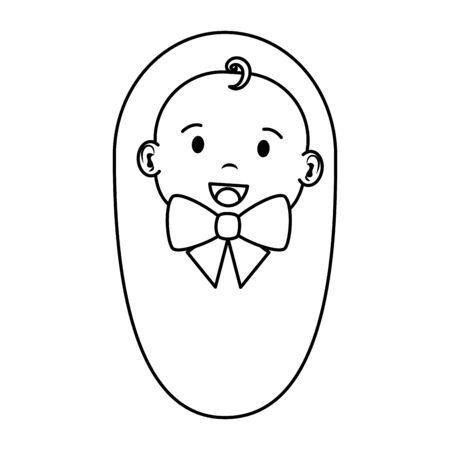 cute little baby boy character vector illustration design Çizim