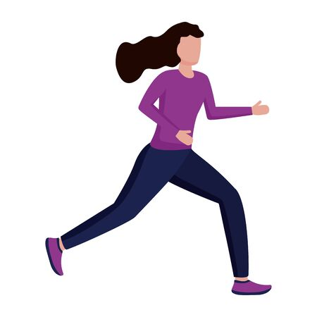 woman in sport clothes running activity vector illustration