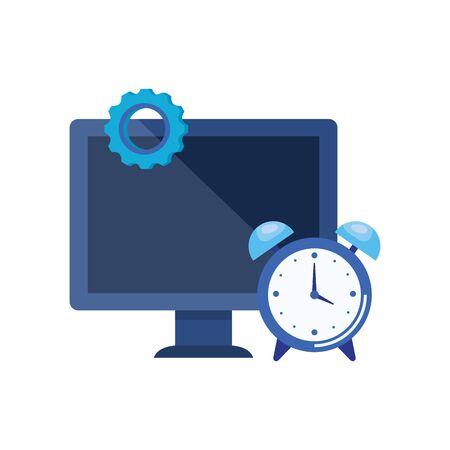 desktop computer with alarm clock vector illustration design Imagens - 129508141