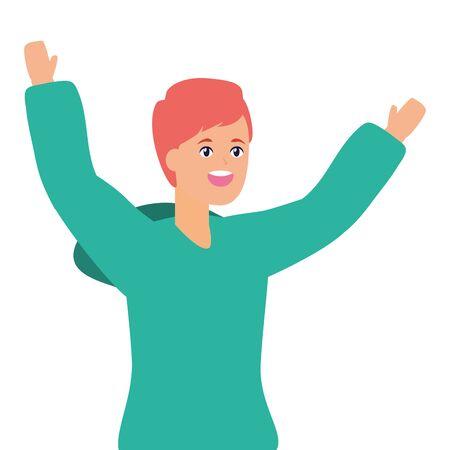 happy man celebrating arms up vector illustration Standard-Bild - 129508142