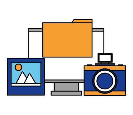 ordinateur appareil photo dossier photo fichier vector illustration