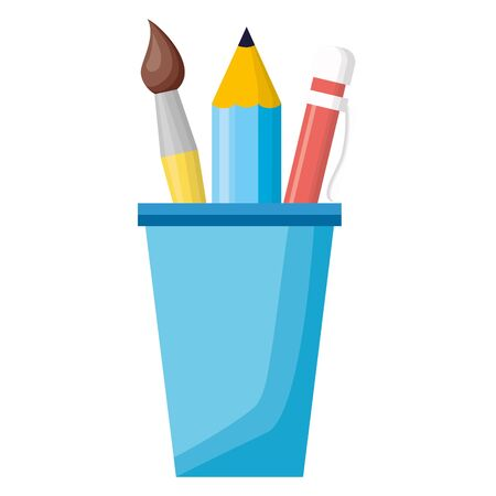 back to school cup with pencils paintbrush vector illustration