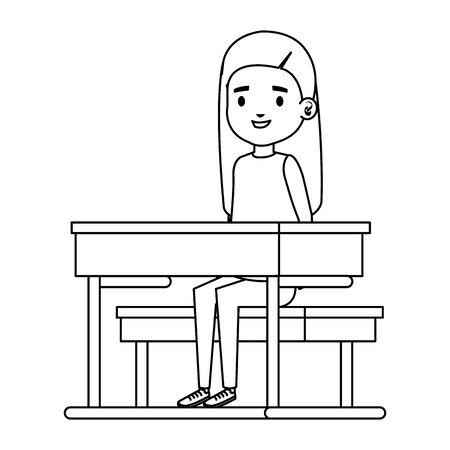 cute little student girl in school desk vector illustration design