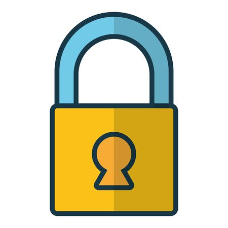 closed padlock on white background vector illustration