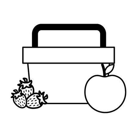 basket picnic apple strawberry food vector illustration