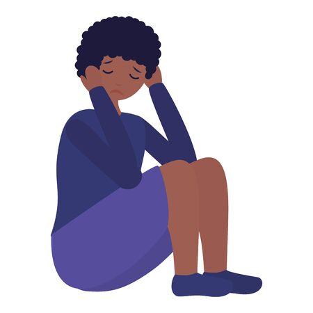 boy sitting with sadness mental depressed vector illustration