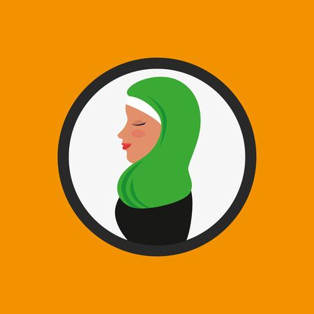 profile of islamic woman with traditional burka in circle vector illustration design