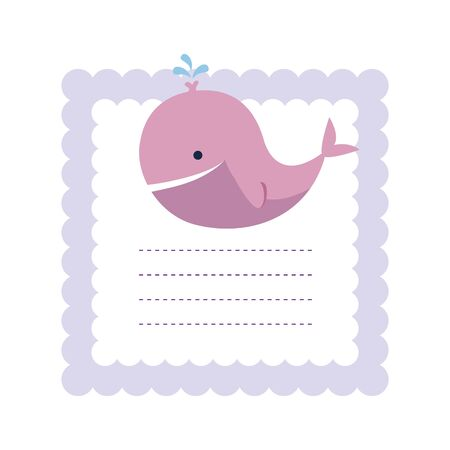 baby shower card with little whale vector illustration design 向量圖像